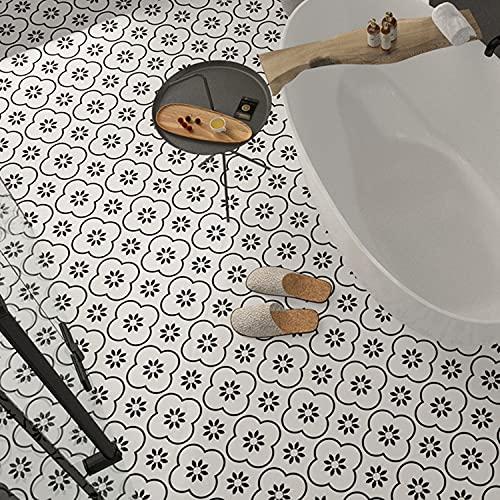 UIGJIOG Pegatinas Azulejos Duros Autoadhesivos para Pisos, Películas de plástico para Cocina y Baño, escaleras y Superficies de Madera, Blanco y Negro,3,20 x 20 cm /20 Pieces