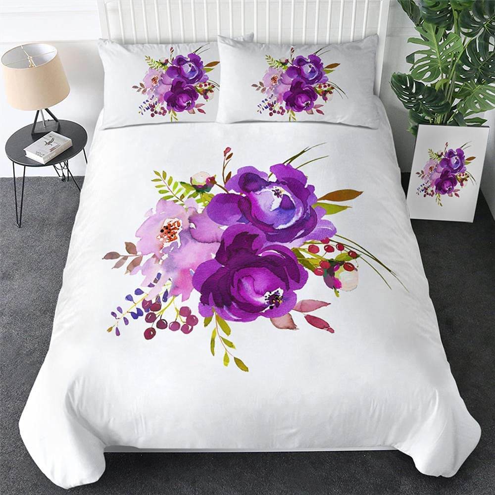 Blooming Flowers Attention brand Bedding Set Purple price Watercolor Duvet Cove Floral