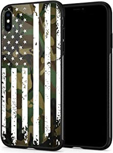 iPhone Xs Max Cases, Tempered Glass iPhone Xs Max Case Camo Flag Pattern Design Black Cover Sport Case for iPhone Xs Max 6.5-inch Camo Flag