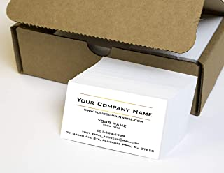 Simple Custom Premium Business Cards 500 Full color - Two Sunny lines design- White front-White back (129 lbs. 350gsm-Thick paper), Made in The USA