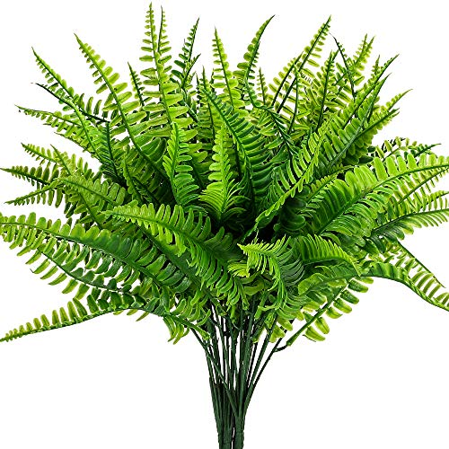 Artificial Boston Fern Plants Bushes Artificial Shrubs Greenery for House Plastic Outdoor UV Garden Resistant Office Garden Indoor Decor (Pack of 4)