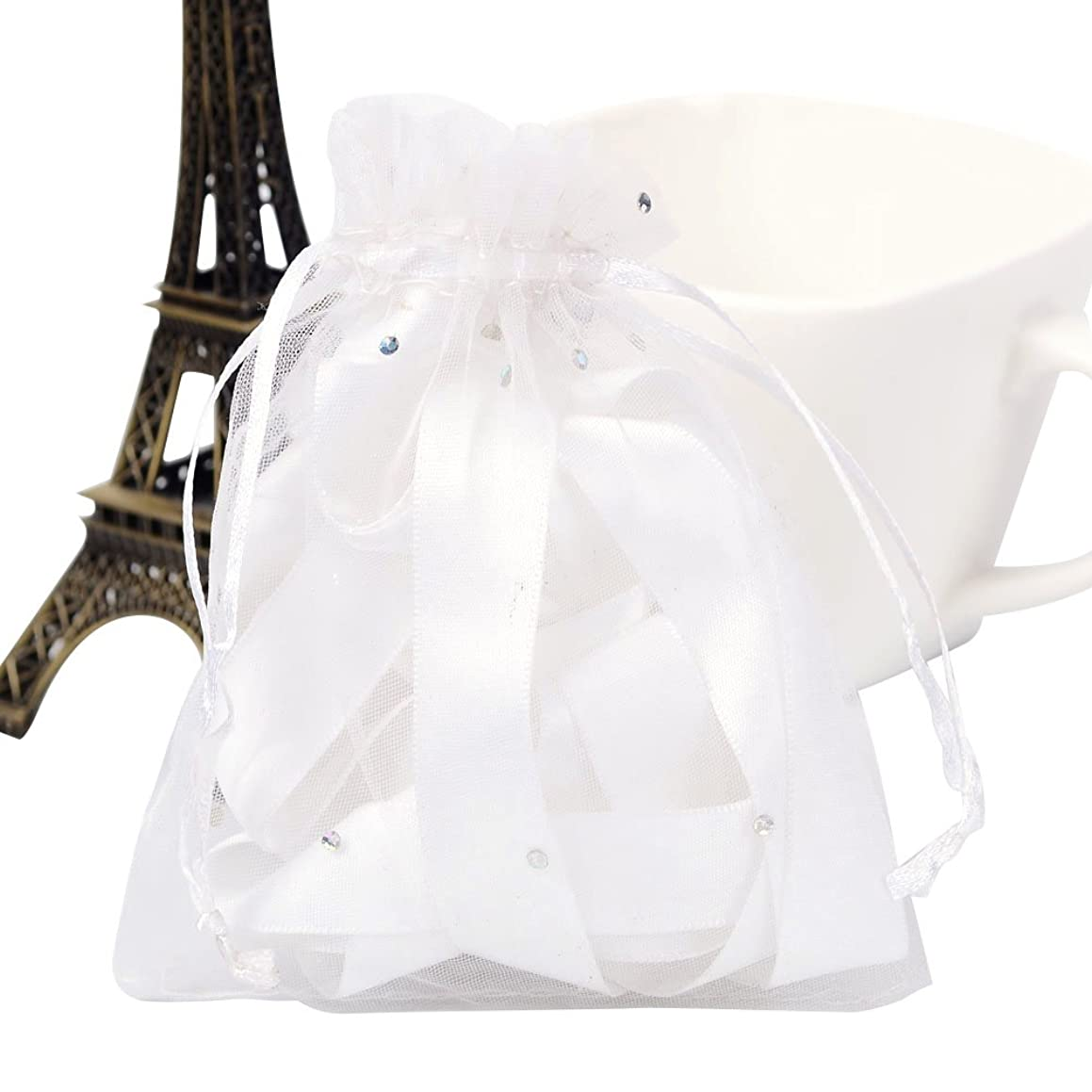 Pandahall 100 Pcs 4x4.7 Inches White Organza Drawstring Pouches Jewelry Party Wedding Favor Gift Bags with Glitter Powder