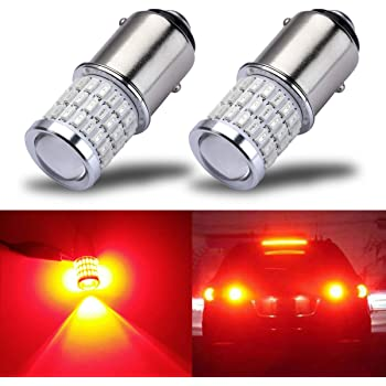 iBrightstar Newest 9-30V Super Bright Low Power 1157 2057 2357 7528 BAY15D LED Bulbs with Projector for Tail Brake Lights, Brilliant Red