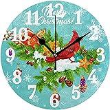 ALLdelete# Wall Clock Corona di Natale Fiocchi di Neve Cardinale Rosso Bell Orologio da parete Orologio Decorativo Rotondo Orologio a batteria