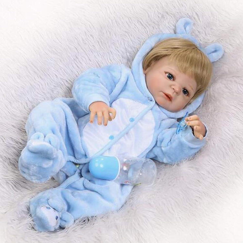 JFW-Reborn Babypuppen 23 Zoll 57 cm Magnetischer Schnuller weiche Silikon Blaue Kleidung Vinyl lebensechte Neugeborene Babypuppen