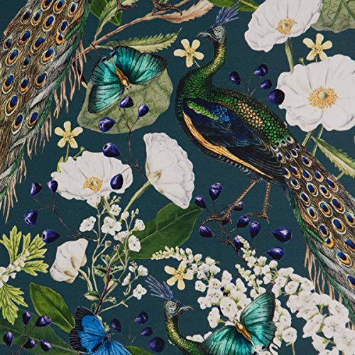 SCHÖNER LEBEN. Dekostoff Halbpanama Baumwolle Pfau Blüten Petrol 1,40m Breite