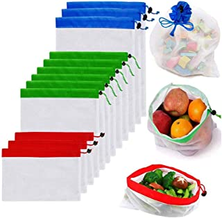 YOMYM Reusable Mesh Produce Bags Premium Washable Eco Friendly Bags with Tare Weight on Tags for Grocery Shopping Storage, Fruit, Vegetable, and Toys (Set of 12 PCS)