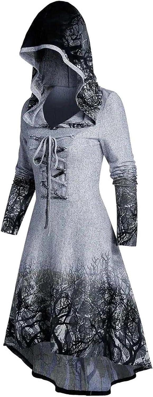 Women Halloween Cardigan Cloak Sweaters Loose Tops Pullover Plus Size Coat Retro Dress Hooded Elasticity Black