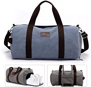 Weekend Duffle Bag, lesgos Canvas Travel Tote Bag with Shoes Compartment, Shoulder Bag for Men/Women/Adults/Swimming/Hiking/Outdoors