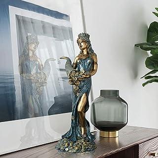 LCZ Déesse Statue Chance Destin Figure Fortune, Tenir Corne D'abondance Sculpture Blindfolded Déesse De La Fortune Figure ...