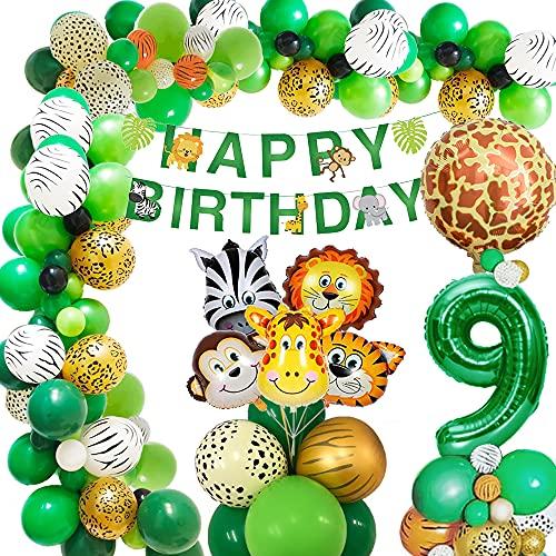 AcnA Selva Decoración Cumpleaños Niño 9 año, Selva Globos Fiesta Cumpleaños niño 9 año with Safari Decoracion Cumpleaños Animales Globos para Infantil Niño 9 Jungla fiesta cumpleaños