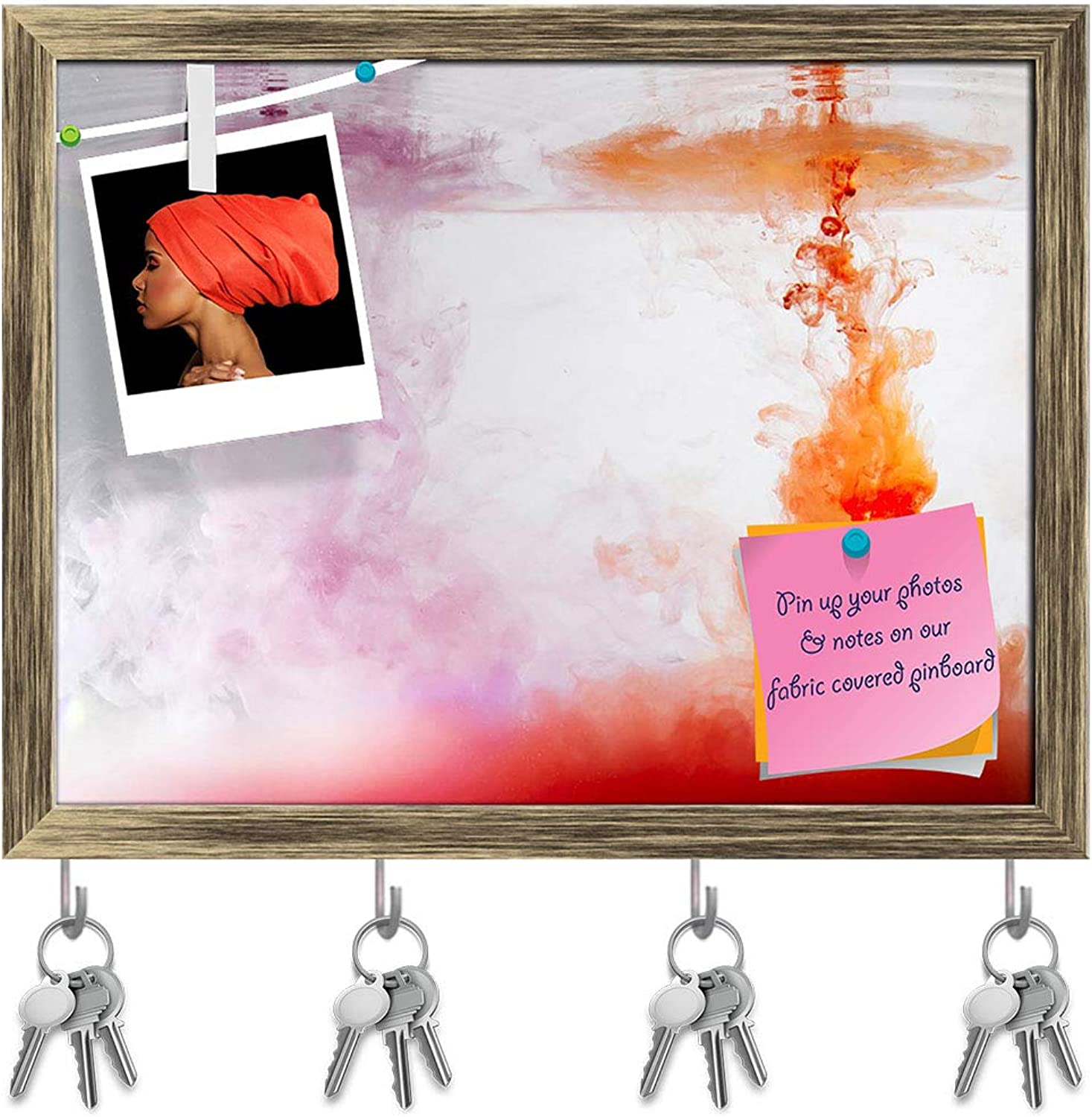 Artzfolio Abstract Colours Ink in Water Key Holder Hooks   Notice Pin Board   Antique golden Frame 15.4 X 12Inch