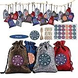 Hodec AdventskalenderzumBefüllen, DIY Weihnachten Adventskalender Weihnachten Geschenksäckchen Tüten 4 Farben 24er Set für Weihnachten Dekoration