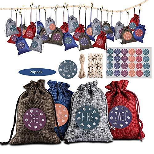 Hodec AdventskalenderzumBefüllen, Weihnachten Adventskalender Selber Befüllen Weihnachten Geschenksäckchen Kette zum Selber Befüllbar 4 Farben 24er Set für Weihnachten Dekoration