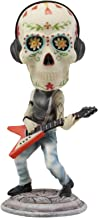 Ebros Gift Day of The Dead Skeleton Rock Band Guitar Player Guitarist with Headphones Bobblehead Statue 6.5