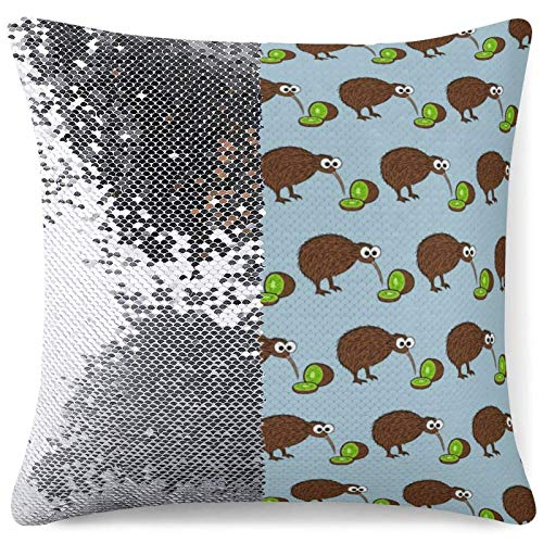 Sequin Throw Pillow Cover, Reversible Sequin Pillow Cover Brown Kiwi Kiwi Fruits Decorative Cushion Pillow Cases for Sofa Couch Bed Car