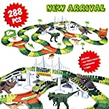 Dinosaur Track Toy Set 288 Piece, Dinosaur Car Race Track Toy with 264 Flexible Tracks, 1 Dinosaur Car and 1 Race Car, Create a Dinosaur Track, Dinosaur Toy for Kids Boys Girls Children Ages 3+