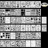 HUYU Schablonen Set, 50 Pcs Zeichenschablonen, Bullet Journal Schablonen Set, Zeichen Muster, Malerei Muster Plastik, Wiederverwendbare Plastikschablonen mit vielen Motive zu basteln, 12,7 x 17,8 cm