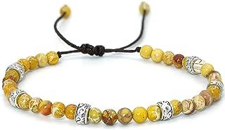 YooAi Braccialetto di Perline Braccialetti di Pietra imperatore Regolabili Braccialetti di Perline Colorati Fatti a Mano