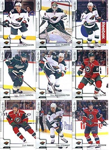 2017-18 O-Pee-Chee Hockey Minnesota Wild Team Set of 17 Cards: Eric Staal(#18), Matt Dumba(#53), Jason Zucker(#78), Jason Pominville(#112), Joel Eriksson Ek(#127), Mikko Koivu(#135), Mikael Granlund(#144), Erik Haula(#174), Zach Parise(#258), Jonas Brodin(#291), Chris Stewart(#299), Martin Hanzal(#326), Nino Niederreiter(#346), Ryan Suter(#375), Jared Spurgeon(#408), Charlie Coyle(#455), Devan Dubnyk(#465)