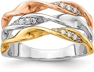 14K Tri-color Gold Diamond Fancy Ring (0.162Cttw)