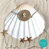 Manati II– Collar de plata de ley 925 con chancletas con arena de playa real de Punta Cana, joyería Wanderlust, boda en la playa, regalo único hecho a mano para ella - 94XV