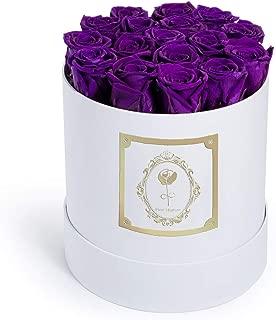 Fleur Magique | Preserved Roses Medium Round Classic White Box - Purple Roses
