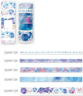Cute Washi Tape Set Galaxy Foil Masking Decorative Tape for DIY Scrapbooking, Crafts, Bullet Journal, Gift Wrapping, Holiday Decoration Planner Accessories (9Rolls)(STYLE01)