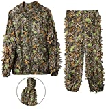 DoCred Ghillie Suit for Men, 3D Lightweight Hooded Camouflage Ghillie Breathable Hunting Suit (Medium or Large)