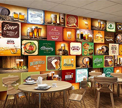 YTTBH 3D Selbstklebende Wandtapete Retro Bier Puzzle (W) 520X (H) 290 Cm Wandkunst Kinderzimmer Restaurant Bar Shop Wohnzimmer Schlafzimmer Wand Poster Dekoration Tapete Wandbild Kinderzimmer