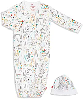 Magnetic Me by Magnificent Baby 100% Organic Cotton Gown & Hat Set, Newborn to 3 Months