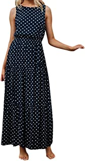 H+K+L Women Polka Dot Print Round Neck Sleeveless Boho Long Maxi Party Dresses