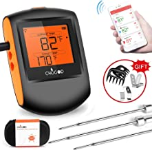 Meat Thermometer Bluetooth - CHUGOD BBQ Cooking Thermometer Wireless Remote Digital Cooking Food Meat Thermometer with 3 Probes for Smoker Grilling Oven Kitchen(Carrying Case Included)