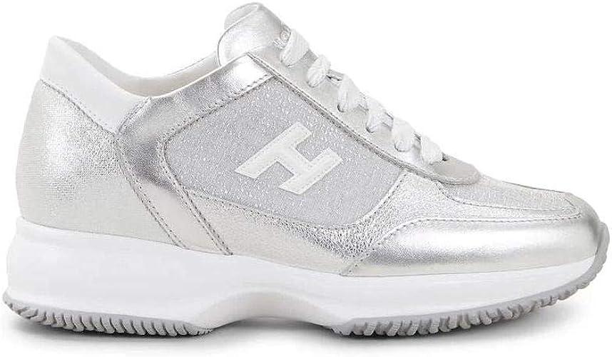 Hogan - Sneakers Donna Interactive Argento in Pelle e Tessuto ...