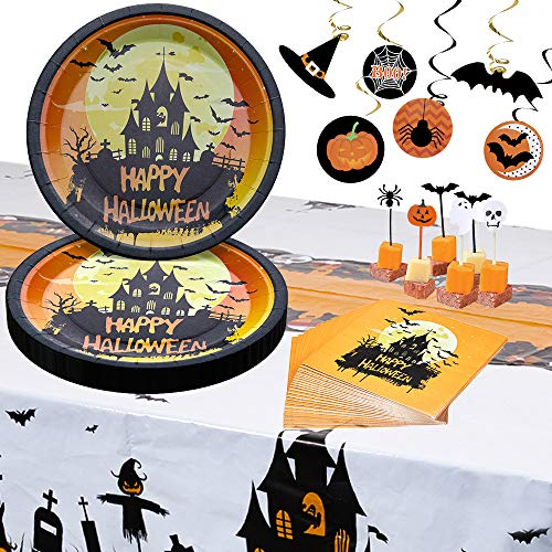 Halloween Party Supplies–2020 Disposable Dinnerware Set Serves 24 Guests–Halloween Party Plates & Dinner Paper Plates (Horror castle)