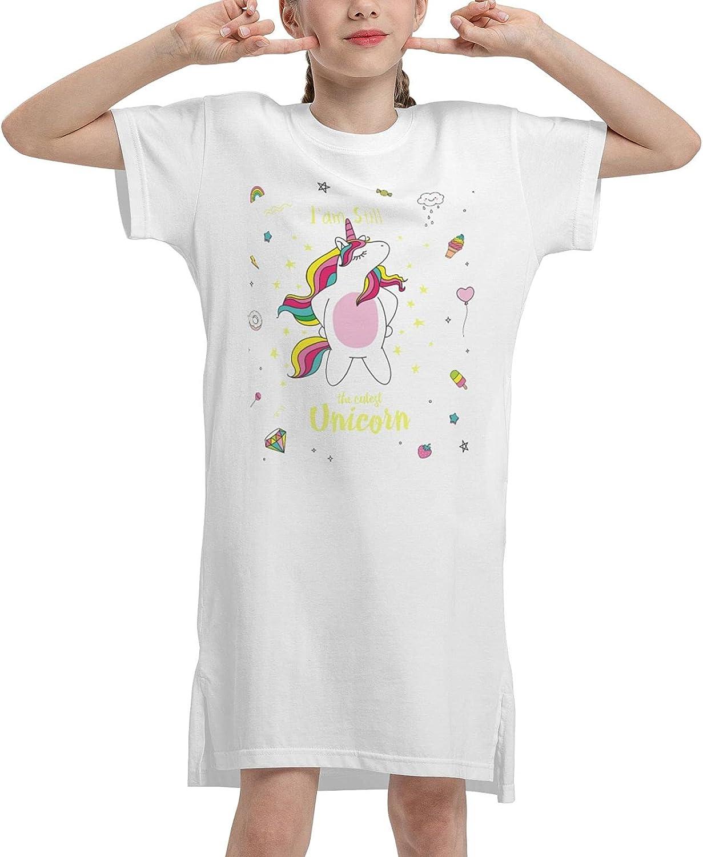 I Am Still The Cutest Unicorn Summer Girls Dress Casual Cotton Short Sleeve Skirt Dress for 7-12Y