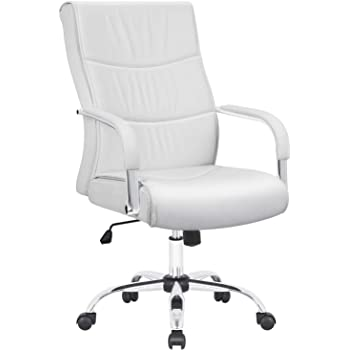 Furmax High Back Office Desk Chair Conference Leather Executive with Padded Armrests,Adjustable Ergonomic Swivel Task Chair with Lumbar Support (White)