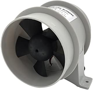 Perfk 4 inch Silent Inline Blower, 12V Quiet Air-Flow Turbo Fan for Air Circulation in Ducting, Vents, Grow Tents