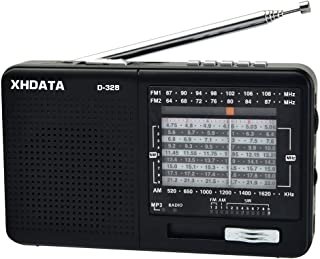 XHDATA D-328 Shortwave AM FM DSP Portable Small Radio Stereo MP3 Player with Rechargeable Battery Earphone Jack Portable M...