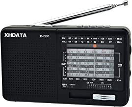 XHDATA D-328 Portable Radio AM FM SW 12 Bands Receiver with DSP/MP3 Music Player and TF Card Slot Packed with Rechargeable Battery and USB Charging Cable a Gift for Parents to Listen Music Black.