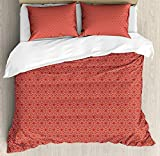 <span class='highlight'><span class='highlight'>JamirtyRoy1</span></span> Abstract Duvet Cover Set King Size, Ethnic Eastern Style Composition of Oriental Motifs Kaleidoscopic Arrangement, Decorative 3 Piece Bedding Set with 2 Pillow Shams, Vermilion White