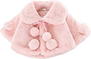 BigForest Baby Infant Girls Coat Faux Fur Long Sleeve Cape Cloak Jackets with pompom Warm Outwear Winter Clothes