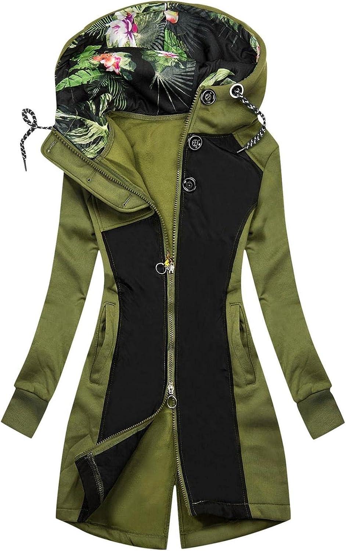 FABIURT Sweatshirt for Women Zip Up,Women's Cute Floral Print Hoodie Long Sleeve Hooded Sweatshirts Pockets Jacket Coat