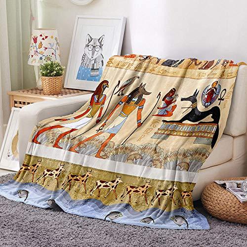 LIGAHUI Manta Polar con Flecos de Pompones Antiguo Egipto Plaid Manta de Franela para el sofá Cama Apta para Todas Las Estaciones 70x100 cm