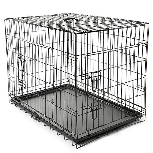 TRESKO Hundekäfig 91 x 58 x 64 cm faltbar mit 2 Türen | Transportkäfig Auto | Hundebox mit Bodenschale | Transportbox Drahtkäfig