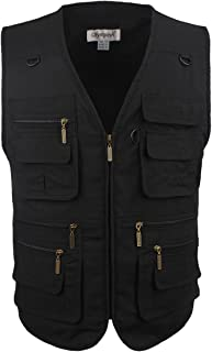 Mens Outdoor Vest Multi-Pockets Casual Vest for Work Fishing Photography Journalist