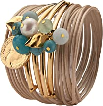 SEA Smadar Beige Leather Bracelet Necklace with 24k Gold Plated Pendants and Turquoise Gemstones