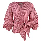 AOMEI V Neck Red Plaid Blouse Retro Gingham People Tops with Waistbelt for Women Shirts Size 2XL