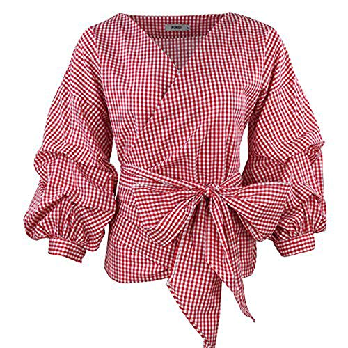 AOMEI V Neck Red Plaid Blouse Retro Gingham People Tops with Waistbelt for Women Shirts Size XL