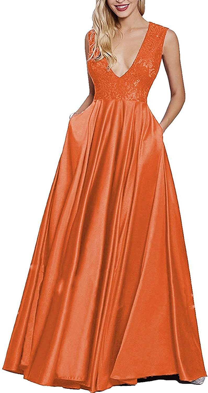 Rieshaneea Womens Long Deep V Prom Dresses Lace Evening Party Gown